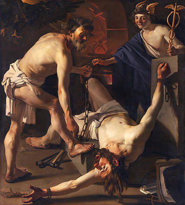 Vulcan Painting - Prometheus Chained By Vulcan by Dirck van Baburen