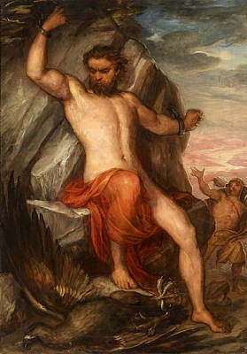 Prometheus Painting - Prometheus Forged To The Rock by Carl Rahl