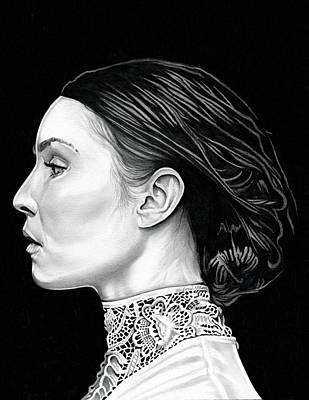 The Girl With The Dragon Tattoo Drawing - Prometheus - Noomi Rapace by Fred Larucci