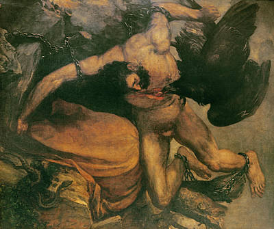 Prometheus Oil On Canvas Art Print by Francisco Jose de Goya y Lucientes