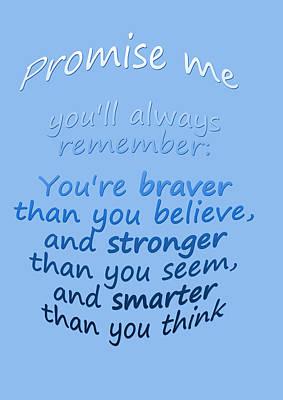 Promise Me - Winnie The Pooh - Blue Art Print