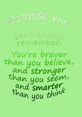 Promise Me - Winnie The Pooh - Green Art Print