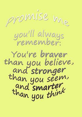Promise Me - Winnie The Pooh - Yellow Art Print