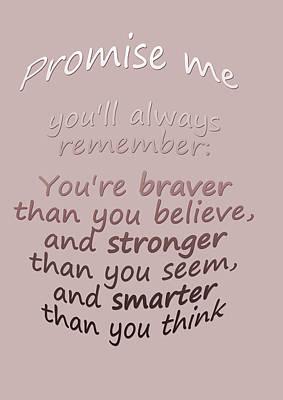 Promise Me - Winnie The Pooh  Art Print