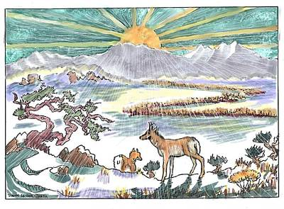 Drawing - Pronghorn Winter Sunrise by Dawn Senior-Trask