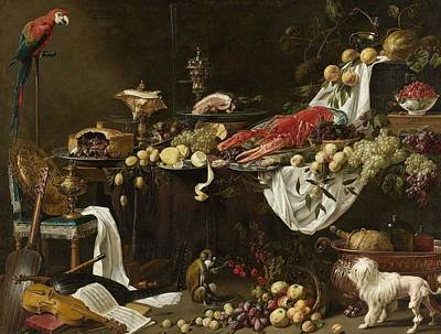 Netherlands Painting - Pronk Still Life by Adriaen van Utrecht