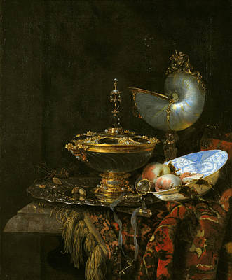 Pronk Still Life With Holbein Bowl Nautilus Cup Glass Goblet And Fruit Dish Art Print by Willem Kalf