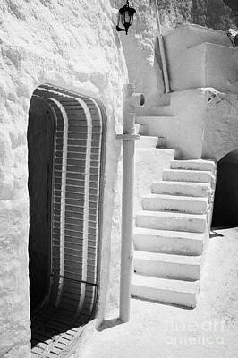 prop doorway and steps at the Sidi Driss Hotel underground at Matmata Tunisia scene of Star Wars films vertical Art Print by Joe Fox