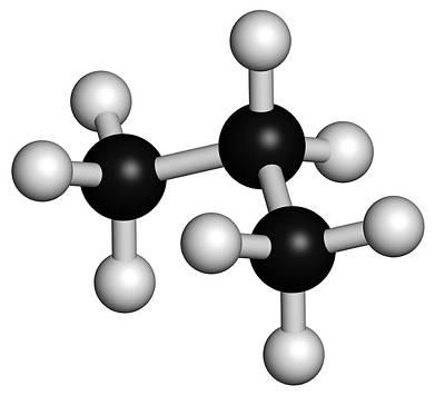 Propane Hydrocarbon Molecule Art Print by Molekuul