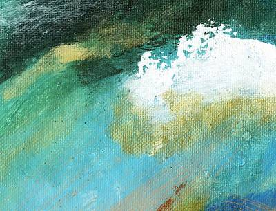 Propel Aqua Blue Gold Art Print by L J Smith