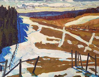 Snow Melt Painting - Property Line by Phil Chadwick