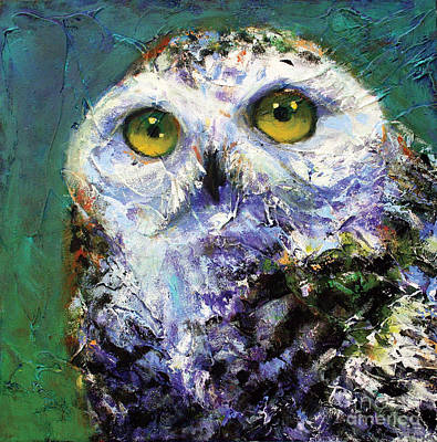 Abstract Owl Painting - Prophecy Snowy Owl by Rosemary Conroy