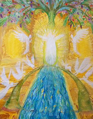 Painting - Prophetic Message Sketch 11 Two Trees Become One Tree And River Of Life by Anne Cameron Cutri