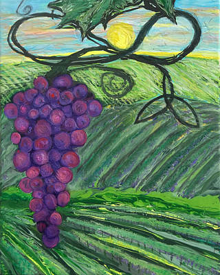 Painting - Prophetic Message Sketch 18 Vineyard Infinity Trinity by Anne Cameron Cutri