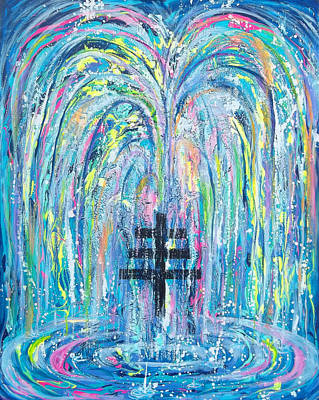 Cross Painting - Pms 19 My Will Be Done Fountain And Triple Cross by Anne Cameron Cutri