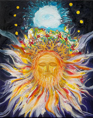 Painting - Prophetic Message Sketch Painting1 Jesus Christ With Blossoming Crown Lion Of Judah by Anne Cameron Cutri