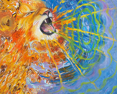 Painting - Prophetic Sketch Painting 25 Lion Of Judah Awakens With A Roar by Anne Cameron Cutri