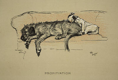 Terriers Drawing - Propitation, 1930, 1st Edition by Cecil Charles Windsor Aldin