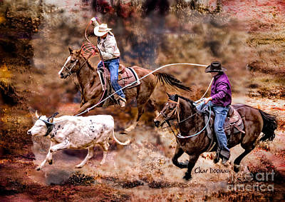Photograph - Prorodeo Team Roping by Char Doonan