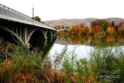 Photograph - Prosser Bridge And Fall Colors On The River by Carol Groenen