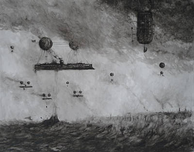 Post Apocalyptic Painting - Protected Fishing Fleet Off The London Shoals by Steve Allender