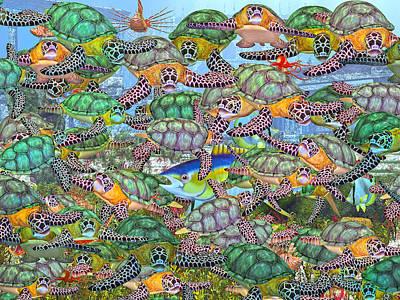Reptiles Digital Art - Protecting Mr. Bluefin  by Betsy Knapp