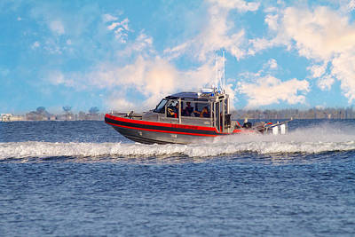 Protecting Our Waters - Coast Guard Art Print by Kim Hojnacki