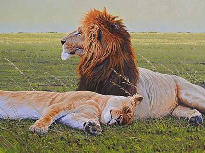 Lion Painting - Protecting The Queen by Aaron Blaise