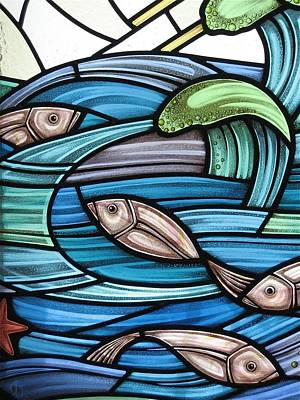Glass Art - Protection Island Seascape by Gilroy Stained Glass