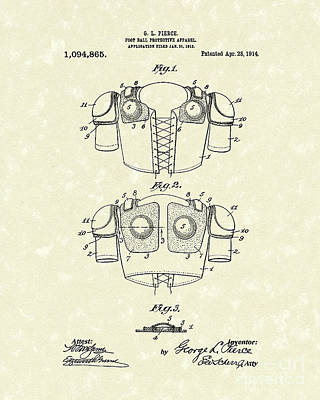 Protection Drawing - Protective Gear 1914 Patent Art by Prior Art Design