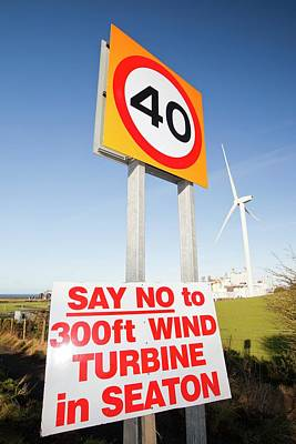 Protest Sign About A New Wind Turbine Art Print
