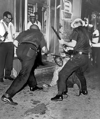 Photograph - Protester Clubbed In Harlem by Underwood Archives