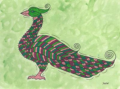 Art Print featuring the painting Proud As A Peacock by Susie Weber
