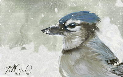 Bluejay Digital Art - Proud Blue Jay by Naomi McQuade