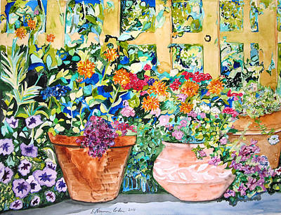 Painting - Two Proud Flower Pots by Esther Newman-Cohen