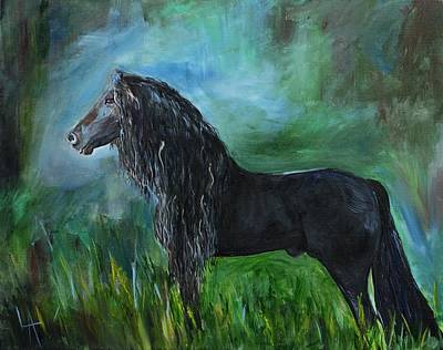 Painting - Proud Friesian by Leslie Allen
