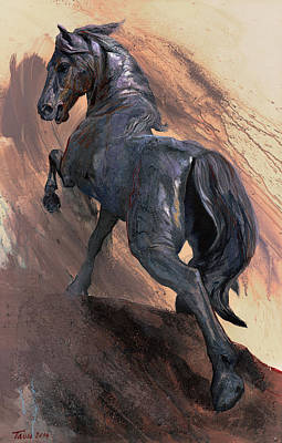 Retro Look Painting - Proud Horse by Dragan Petrovic Pavle