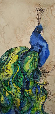 Painting - Proud Peacock Blue by Christy  Freeman