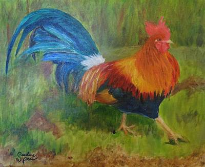 Big Rooster Painting - Proud Stepping Rooster by Carolyn Speer