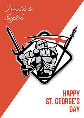 Proud To Be English Happy St George Greeting Card Art Print by Aloysius Patrimonio