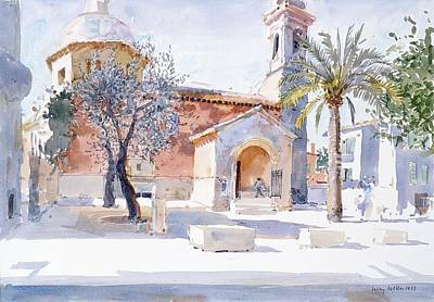 Church Bells Drawing - Provencal Church by Lucy Willis