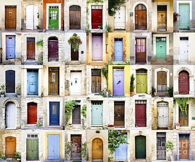 Provence Doors Collage Art Print