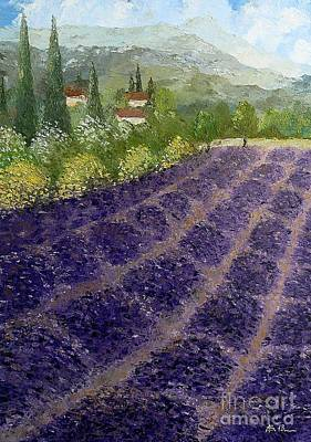 Painting - Provence Lavender Fields  by AmaS Art