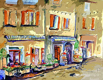 Provence Village Street Scene Art Print by Ginette Callaway