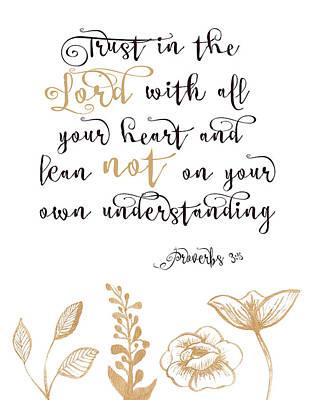 Bible Verse Painting - Proverbs 3-5 by Tara Moss