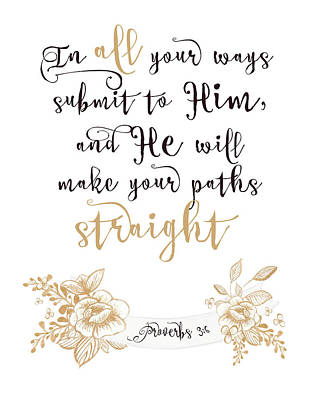 Bible Verse Painting - Proverbs 3-6 by Tara Moss