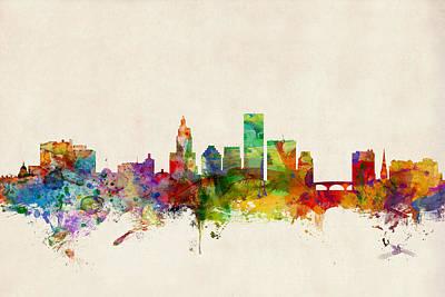 Islands Digital Art - Providence Rhode Island Skyline by Michael Tompsett