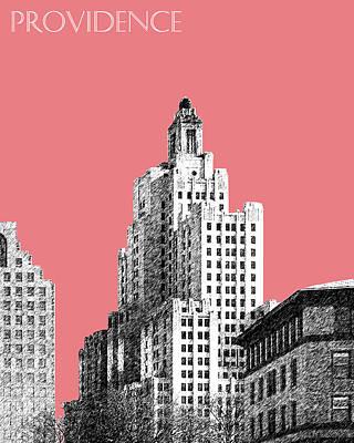 Providence Skyline 2 - Light Red Art Print by DB Artist