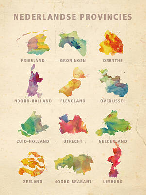 Limburg Digital Art - Provinces Of Holland by Big City Artwork