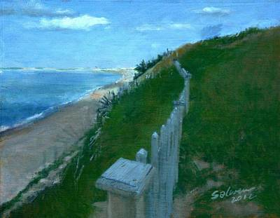 Cape Cod Painting - Provincetown And Cape Cod Bay From Lookout Bluff by Peter Salwen